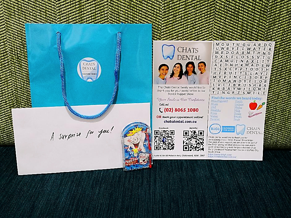 2018 Chats Dental Puppet Show Goodie Bag